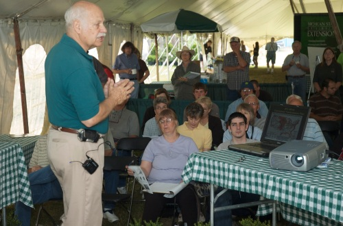 Steve Harsh's wind-energy workshop was a big hit during Ag Expo. Beth Stuever photo.