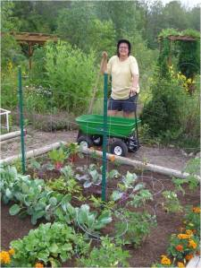 Teresa Norwick poses with her new wagon.