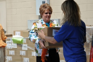 Julie Chapin helps out at book give-away