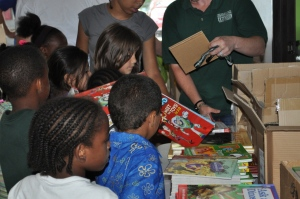 Kids choose free books at give-away.