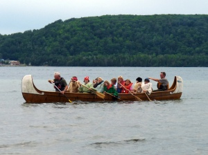Participants in the Life of Lake Superior Youth Program were the crew paddling a voyageur canoe.