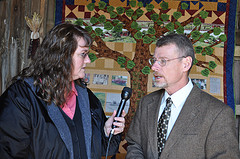 MSU Extension director Tom Coon talks with Jody Pollock-Newsom, host of the Michigan Farm and Garden Show