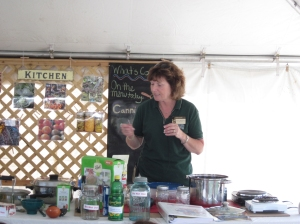 MSU Extension educator Joyce McGarry demonstrates the directions for making strawberry jam