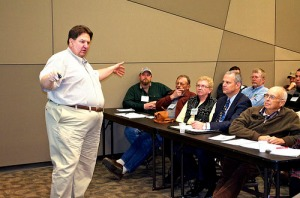 Senior Michigan State University Extension educator Roger Betz makes a point as he presents an educational session on the Farm Bill
