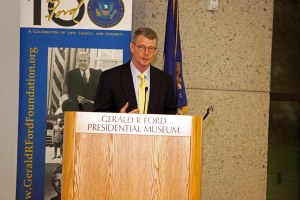Michigan State University Extension Director Tom Coon spoke of his appreciation for the honor bestowed on MSU Extension