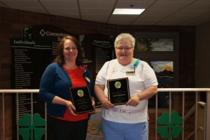 Dorothy Munn (left) and Sue Stapleton receive the MAE4-HYS Distinguished Service Award