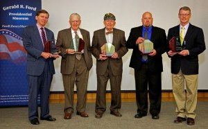 2013 inductees to the Michigan Environmental Hall of Fame included (left to right) former Gov. William Milliken (represented by his son Bill Milliken), Dr. Howard Tanner, Mr. Fred Wilder, Huron Pines organization (represented by Brad Jensen) and Michigan State University Extension (represented by Director Thomas Coon).