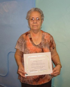 Norma Bermudez, Michigan State University Extension health and nutrition program assistant received a certificate of appreciation from Gateway Community Services on April,25, 2013