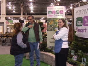 MSU Extension Master Gardener volunteer Judy Workman (right) of Oakland County helps a client
