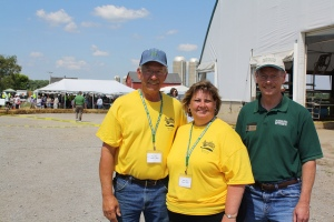 Arlyn and Kathy Walt met with MSU Extension Director Tom Coon (right) July 13 during  Breakfast on the Farm