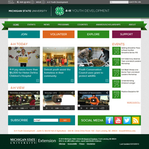The new Michigan 4-H home page after redesign