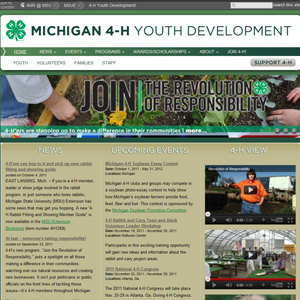 The Michigan 4-H home page before redesign