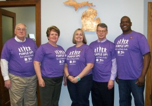 Michigan State University Extension colleagues show their support for military families on PURPLE UP! Day, April 15, 2014