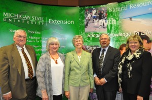 Alternate: Steve Lovejoy, Renee Applegate, Mary Robb, Chuck Pistis, and Brenda Reau at the retiree reception hosted by MSU Extension and Epsilon Sigma Phi, April 8, 2014. Photo credit: Katie Gervasi