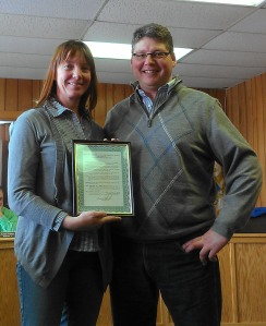 MSU Dairy Farmers of the Year Gertie (left) and Geert (right) van den Goor from Goma Farms near Marlette received a citation from the Sanilac County Commission commending them for their Dairy Farmers of the Year award at a commission meeting on April 15, 2014, in Sandusky, Mich.