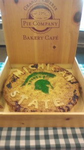 Michigan State Spartan pie created by the Grand Traverse Pie Company