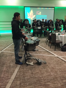 The Michigan State University Drumline performs at the 2015 Fall Extension Conference, Oct. 13, 2015, at the Kellogg Hotel and Conference Center in East Lansing, Michigan.