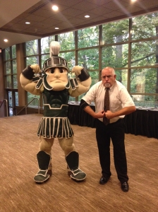 Sparty (on the left) and Kraig Ehm, MSUE ANR Communications video producer/director