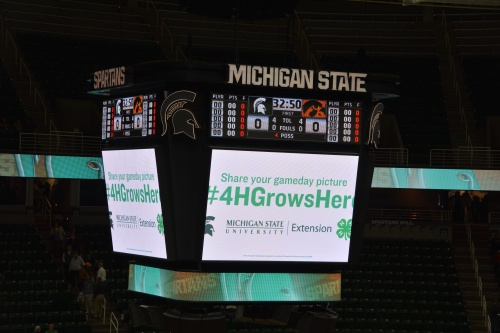 Picture of scoreboard with visual representation of the 4-H Grows Here campaign.