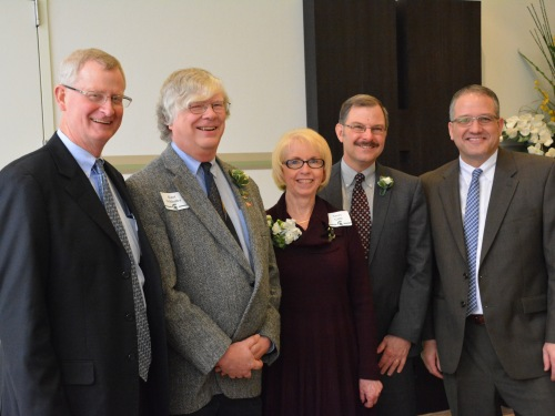 Group photo with our MSU Extension award recipients. Left to right: Jeff Dwyer, Kurt Schindler, Terry Gibb, Phillip Durst, Patrick Cudney.