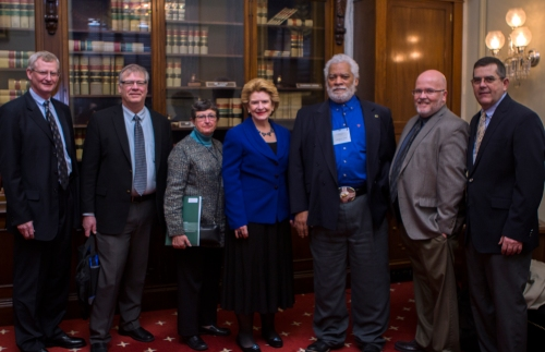 Meeting with Senator Stabenow at Good Morning Michigan, March 17. From left to right: Jeff Dwyer, Mike Kovacic, Char Wenham, Senator Stabenow, Doug Lewis, George Smith and Glenn Preston.