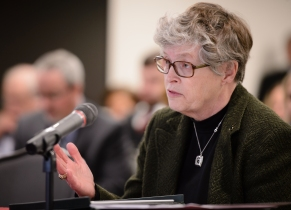 MSU President Lou Anna Simon testifies to the Senate Higher Education Appropriations.
