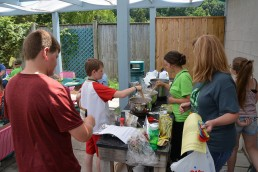 Students cooking during a session.