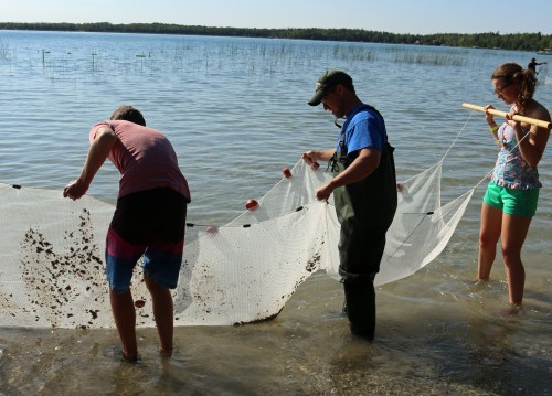 Schroeder and a boy and a girl hold up a large net to do fisheries sampling.